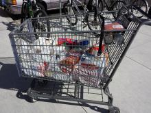 Groceries still in the cart.