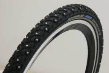 A Schwalbe Marathon Winter tire -- 240 studs on each, and I wouldn't go without them.